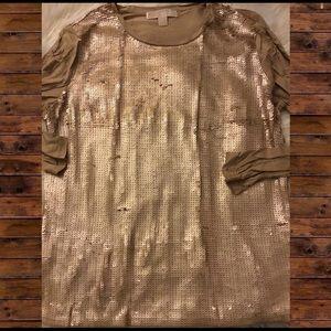 Michael Kors Gold Sequin Long Sleeve Shirt